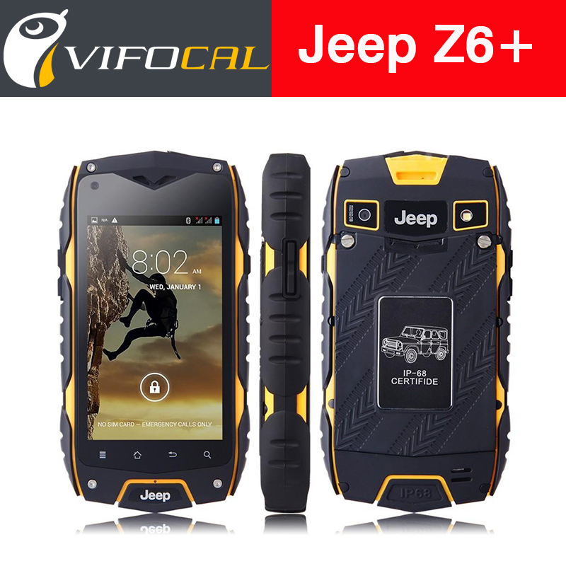 "Jeep Z6+ IP68 Waterproof Smart Phone 4.0"" IPS Android 4.4 MTK6582 Quad Core rugged phone 8GB ROM 3G GPS Dustproof Shockproof(China (Mainland))"