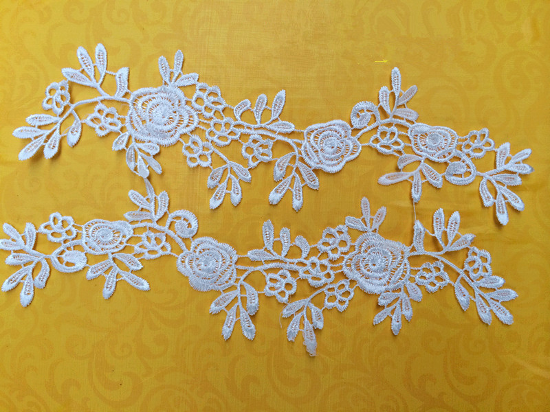 5 Pair white/offwhite Flower Floral Lace Fabric Sewing Trim Wedding Dress Applique Lace patch/ DIY handmade jewelry(China (Mainland))
