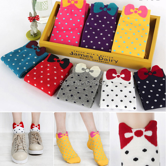 2016 cotton socks 4piece=2pairs/lot Candy Color women's gir's cute sock three-dimensional bow polka dot ankle - Health & Life store