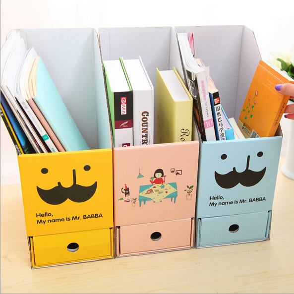 Eco-Friendly 2015 New DIY paper office organizer cartoon Stationery Makeup Cosmetic Desk storage boxes with drawer ZF4008(China (Mainland))
