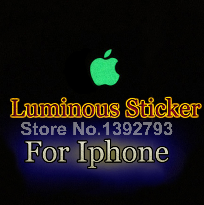 Hot DIY Cool Luxury Luminescent Logo Sticker For Apple iphone 3GS/4S/5/5G/5S Green Natural Light Visible Luminous Stickers C3(China (Mainland))