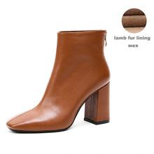 Dép Da Nam Da 2020 Mới Đến Mắt Cá Chân Giày Cao Su Đi Nữ Giày Nữ Giày Cao Gót Boot(China)