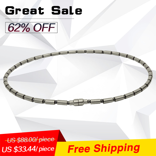 Noprooblem P061 L(52cm) power ion balance band health charm therapy energy tourmaline titanium necklaces(Hong Kong)
