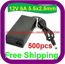 500 pcs Free Shipping Universal DC 12V 6A 72W Power Supply Charger Adaptor For CCTV Camera(China (Mainland))