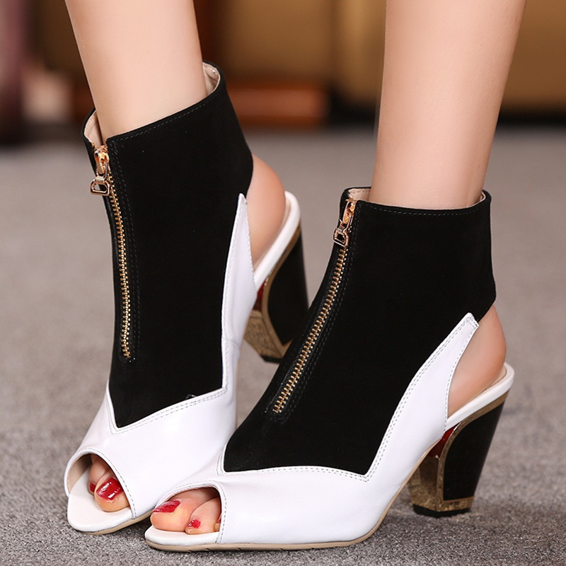 2015 new arrival square high heels ankle boots mixed color black white women shoes peep toe genuined leather zipper ankle boots <br><br>Aliexpress