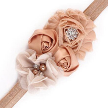 Buy Newborn Headband Kids Shabby Flower Rose Flowers Pearl Rhinestone Hairband Headband Headwear Hair Bands Accessories 1 PC for $1.37 in AliExpress store
