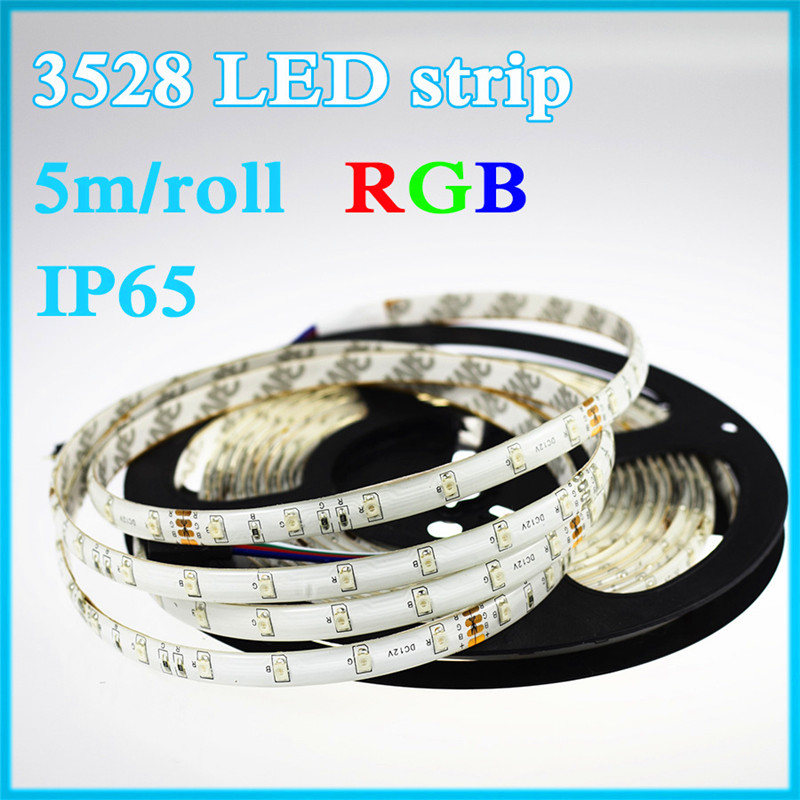 Waterproof LED Strip Light 3528 SMD IP65 60LED/M 5M 12V RGB strip lamp flexible light emitting diode Blue Green Red LED tape(China (Mainland))