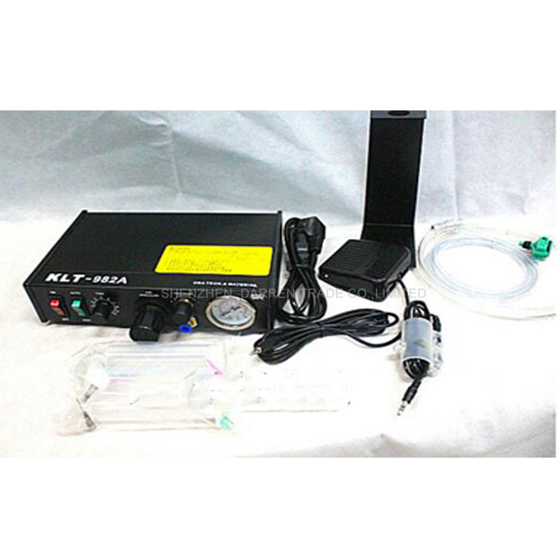 Фотография Freeship DHL Automated Glue Dispenser Solder Paste Liquid Semi Automatic Dispensing Machine Controller Dropper KLT-982A 110v220V