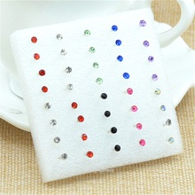Wholesale 20Pairs /pack Fashion Multicolor Round Rhinestone Crystal Plastic Hypoallergenic Stud Earrings Women Girls D-249(China (Mainland))