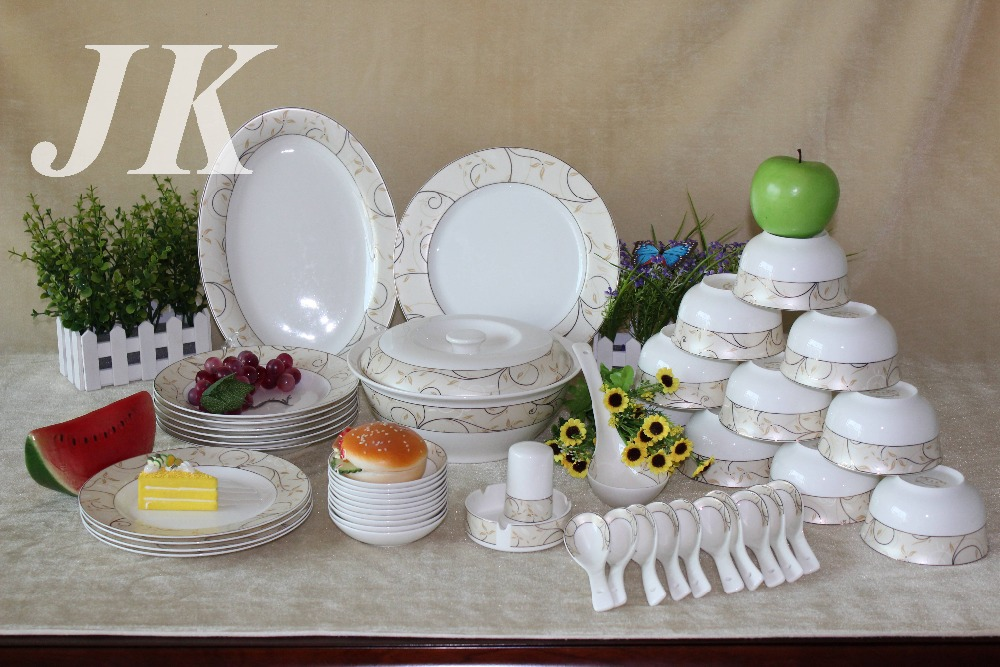 Dinner Plate Set 56 Pcs Ceramic Fine Bone China Porcelain Dinner Set 28PCS Pl