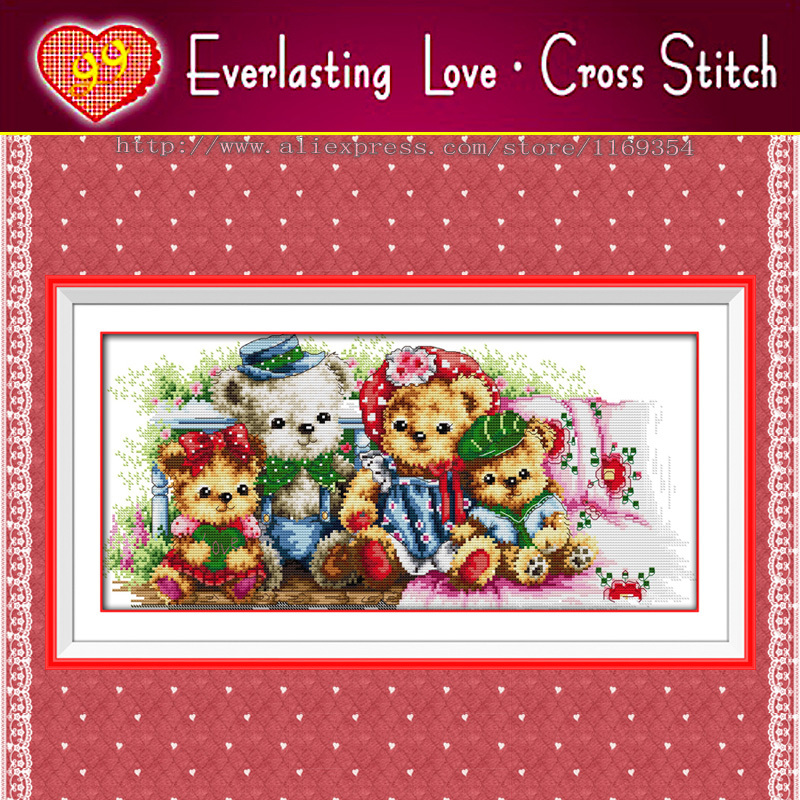 A teddy bear family cartoon Home Decor,11CT 100% printed on canvas embroidery Everlasting Love Cross Stitch kits,needlework Sets(China (Mainland))