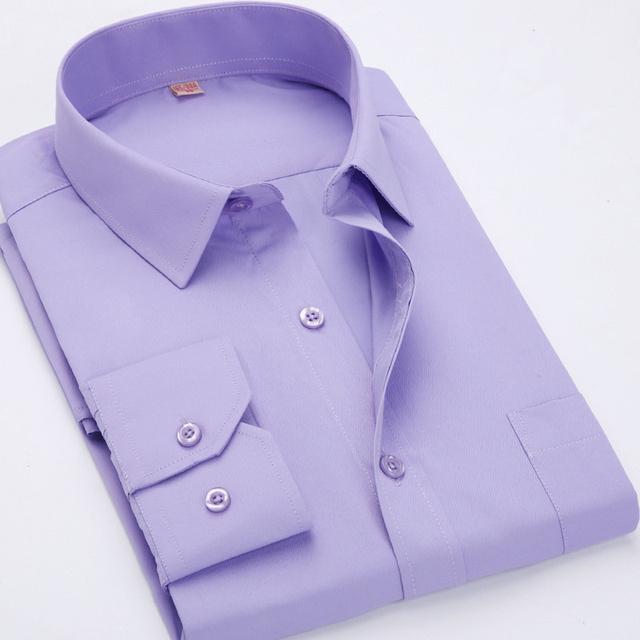 2016 Мужчины Бизнес Случайный С Длинными Рукавами Рубашки Мужчины Сплошной Цвет Рубашки ...