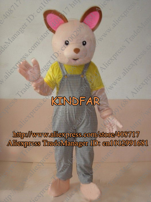 TEDDY BEAR IN BIB PANTS ADULT CARTOON MASCOT COSTUME Fancy Dress Outfit Suit No.2290 Free Shipping(China (Mainland))