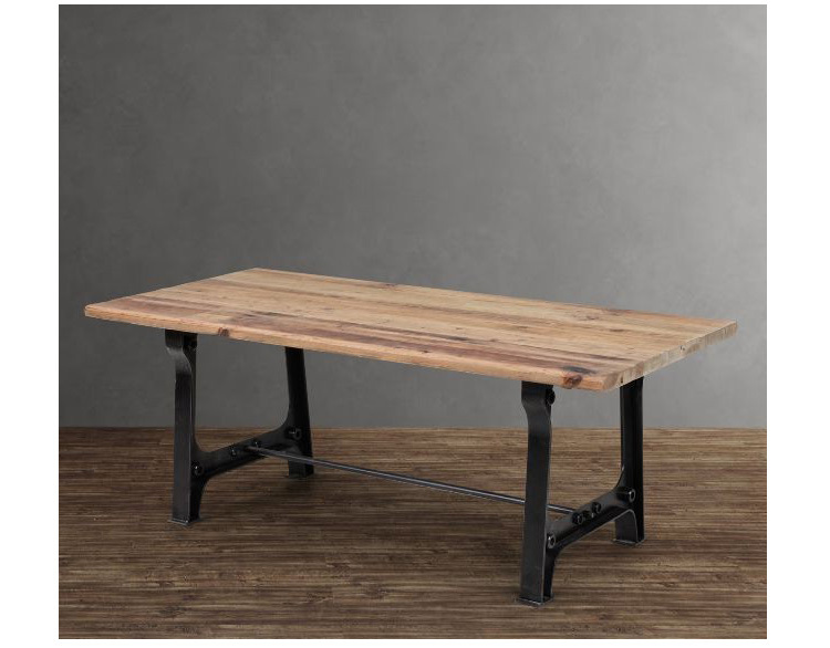 Loft iron wood rustic farmhouse table square table ikea for Table ronde ikea