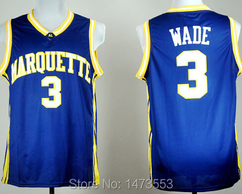 #3 Dwyane Wade Marquette Jersey Navy Blue S-2XL, Dwyane Wade College Basketball Jersey, Embroidery Name Number(China (Mainland))