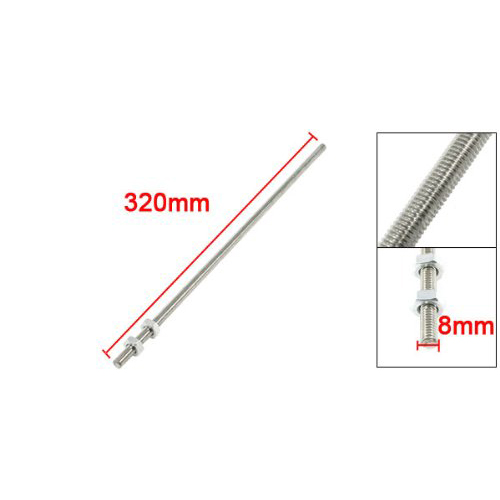 FSLH 320mm x M8 Stainless Steel Thread Bar Stock Rod Silver Tone(China (Mainland))