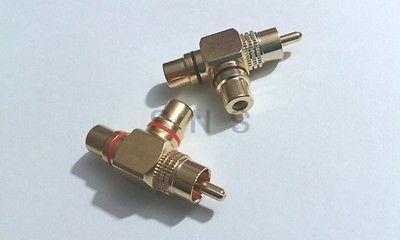 2 pcs Gold Plated 1 Male to 2 Female RCA Splitter Adapter AV Video Audio(China (Mainland))