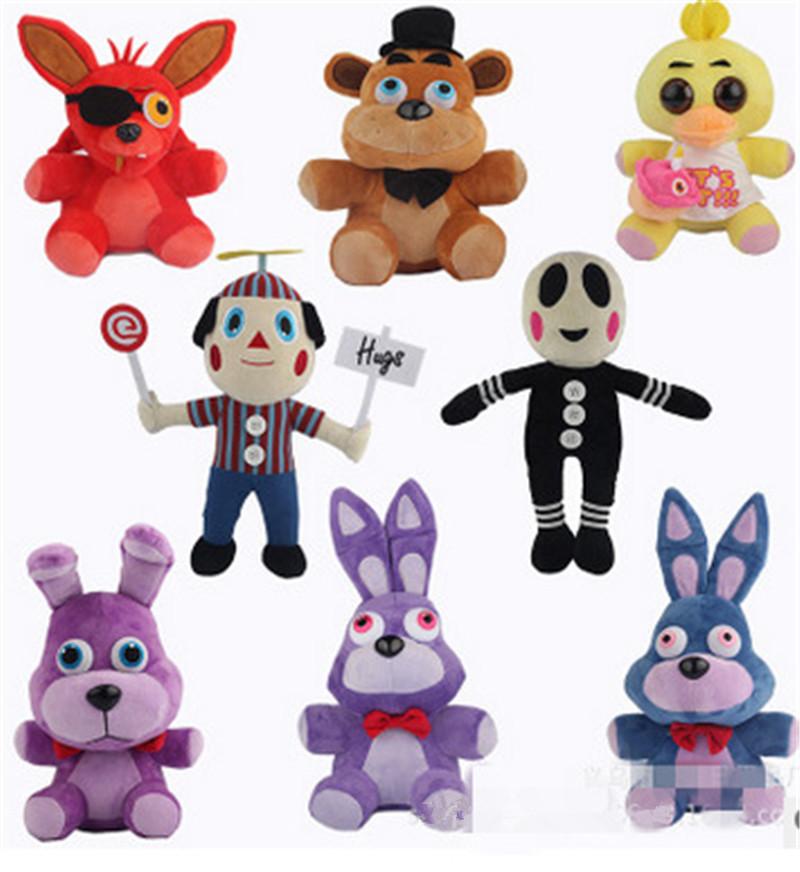 Hot Five Nights at Freddy Push 25cm Bear Fox Duck Rabbit Clown Plush Toys Kids Boys Cool Game Dolls Free Shipping(China (Mainland))
