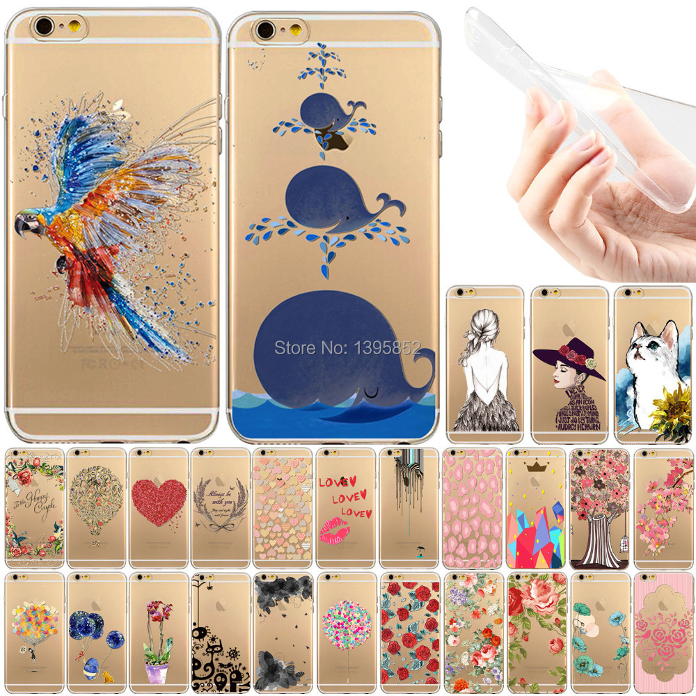 Hot Sale Various Flowers Painted Soft TPU Moblie Phone Cases for Apple iPhone 5 5S Ultra Thin Transparent Back Phone Shell(China (Mainland))