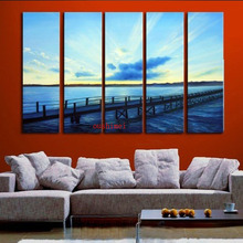 Buy Modern Oil Painting Handmade Picture 5Panels Seascape Wall Canvas Paintings Landscape Home Decor Living Room Frame for $25.74 in AliExpress store