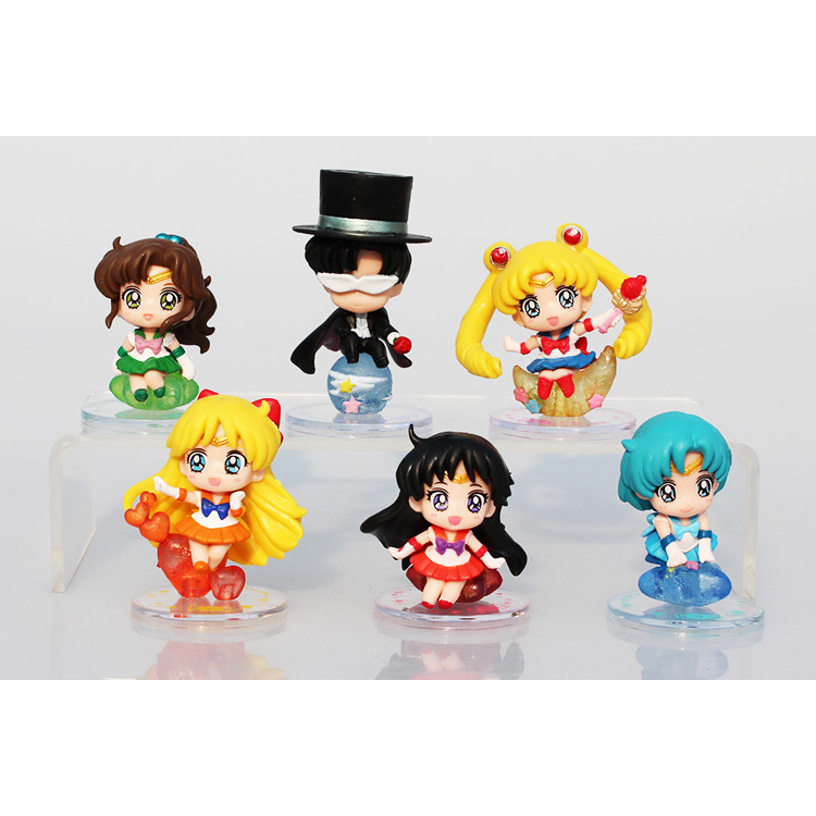Sailor Moon Japanese Anime Chiba Mamoru Mercury Mars Jupiter Saturn Cute Action Figure Toys Gifts 6pcs PVC Collection Model 0414(China (Mainland))