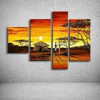 handmade oil painting on canvas modern Africa Landscape Painting  Best Art oil painting original directly from artist  AR-026