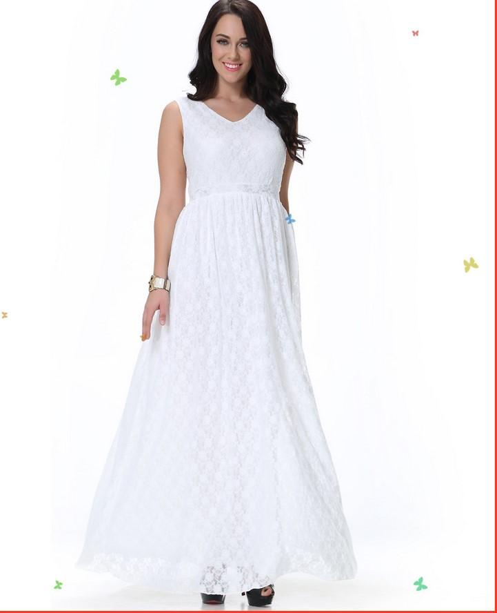 2016 New Design women's fashion plus size dresses white lace sleeveless dress holiday beach casual clothing lady big 6XL L #E537(China (Mainland))