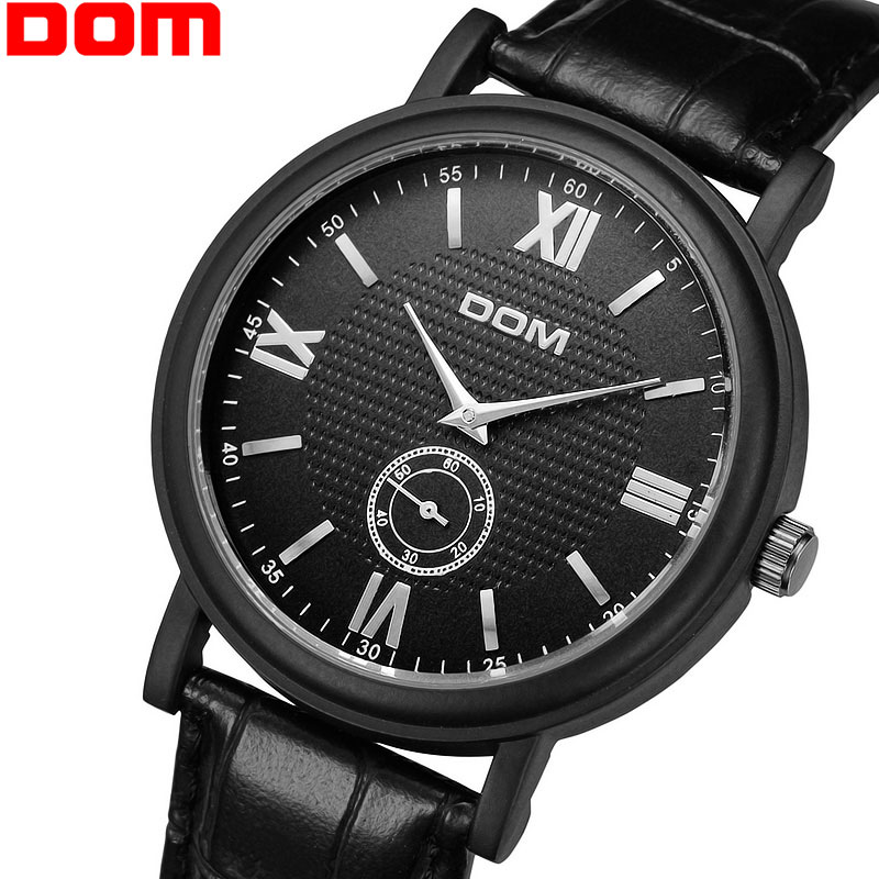 Fashion Casual Wristwatches Male Black Leather Strap Clock Relogio Men Luxury Hong Kong Brand DOM Small Hands Quartz Watch(China (Mainland))