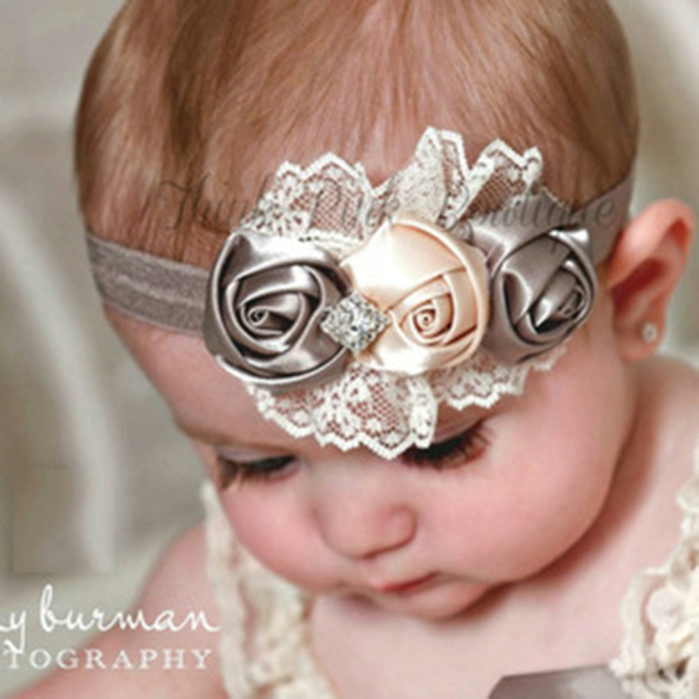 2015 Elastic Headbands Rose Flower Crystal Baby Hair Accessories Baby Girl Children Accessories(China (Mainland))
