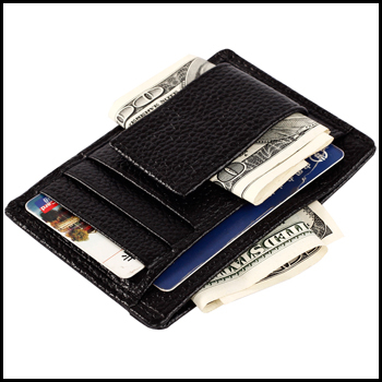 2015 new arrival business 100% genuine leather money clip with 4 card slots carteira masculina(China (Mainland))