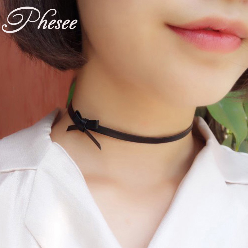 New Fashion Punk Black Leather Bow Choker Necklace Women Maxi Necklace Accessories Gift Women Girls Wholesale 1049