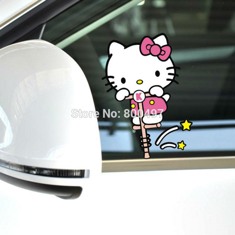 Lovely Hello Kitty Car Body Stickers Hello Kitty Bounce Car Decal for Toyota Chevrolet Volkswagen Tesla Honda Hyundai Kia Lada(China (Mainland))