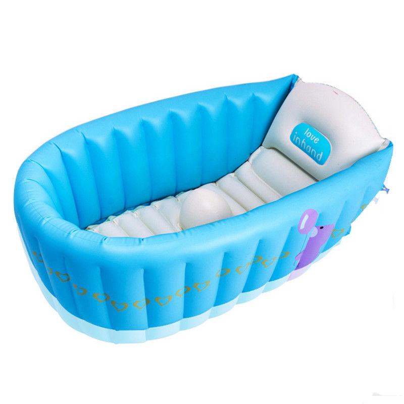 Baño Portatil Infantil:PVC portátil Bebé Bañera Inflable Bañera Plegable Inflar para
