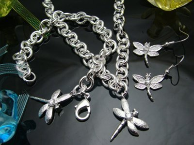 Free shipping Fashion 925 Silver Dragonfly Set Necklace+Bracelet+Earrings S004