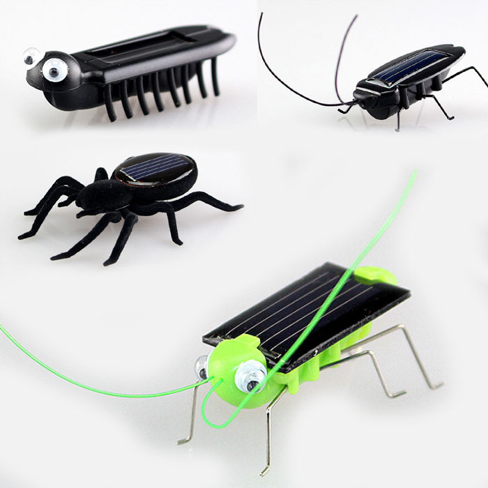 4pcs in 1 set New Fun Novelty kid Solar Energy Powered Spider cockroach Power Robot Insect Bug Locust Grasshopper gadget Toy(China (Mainland))