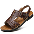 2017 Genuine Leather Men Sandals Slip on Summer Beach Sandals Male Sandal Men Shoes Hot Sale