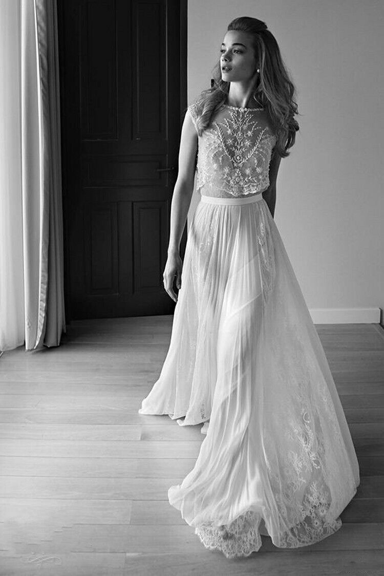 2016 lace vintage beach wedding dresses bohemian boho cap for Lihi hod wedding dress