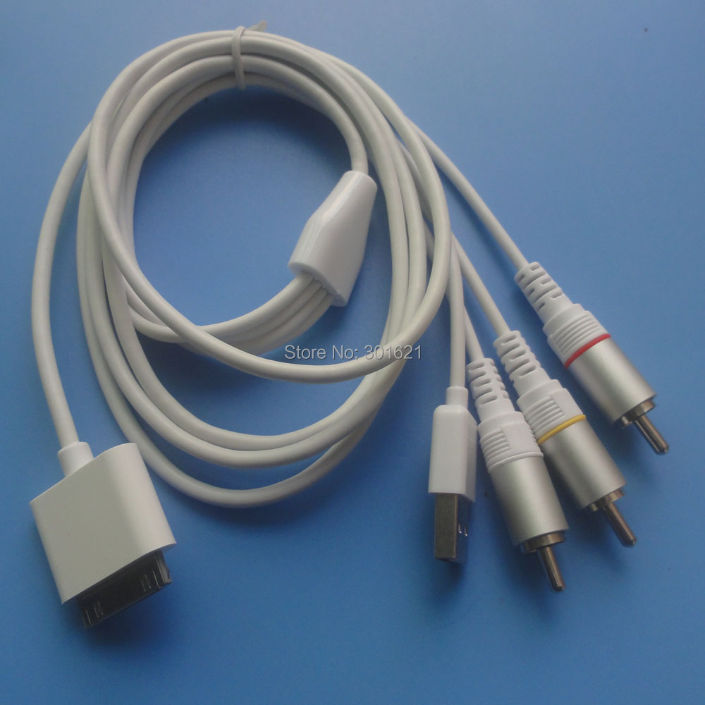 5pcs Composite Video to TV RCA AV USB Cable Charger for iPhone 4 support all ios(China (Mainland))