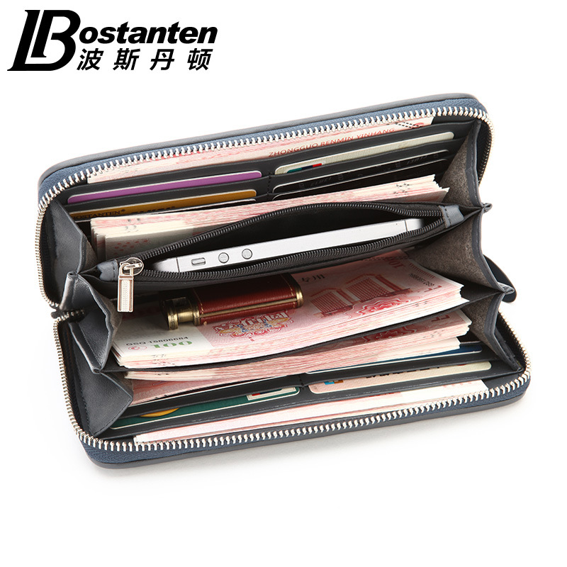 Fashion Wallet For Men Blue Cattle Split Leather Top Quality Large Capacity Card Holders Purse Business Style 2016 Men Wallet<br><br>Aliexpress