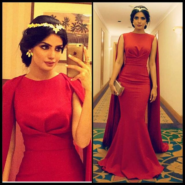 Очаровательная арабские красные длинные вечерние платья 2016 халат де вечер о шея ...
