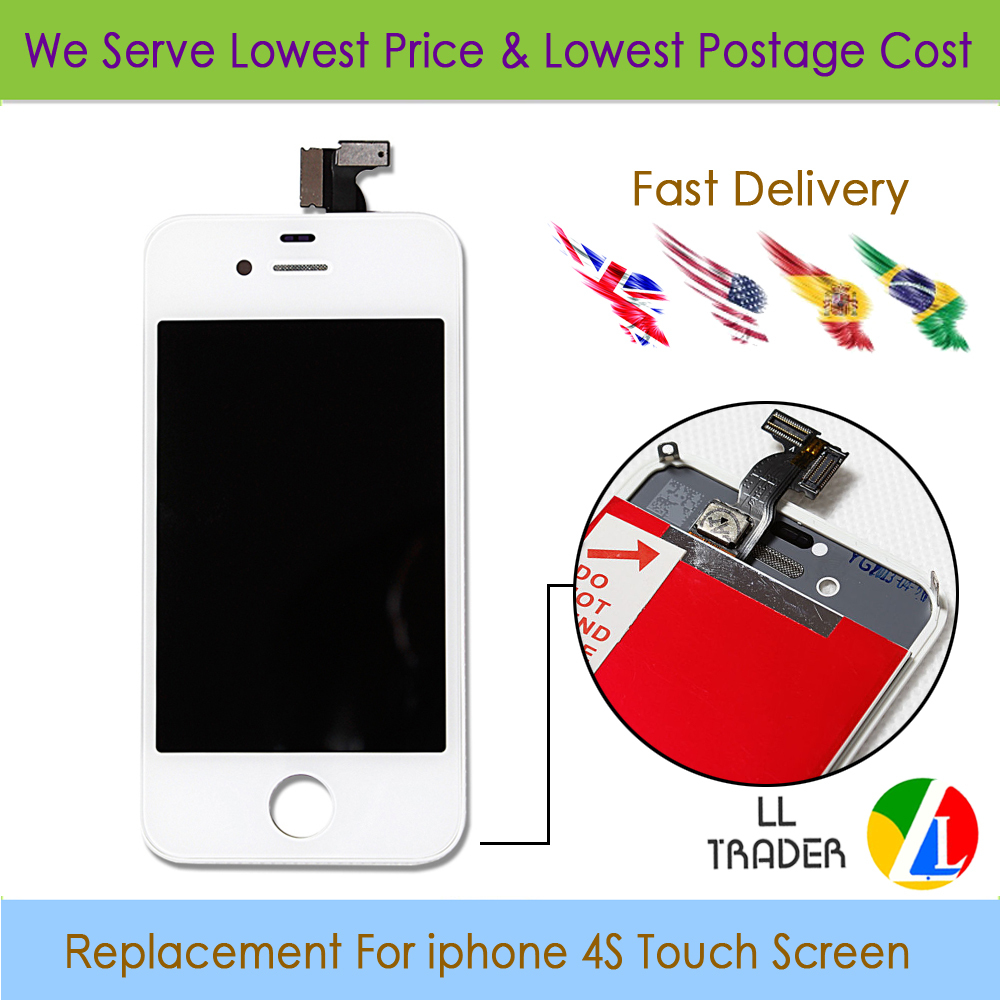 1 PEC 4S White Best Quality Guarantee No Dead Pixel replacement for iphone 4S LCD Touch Screen Digitizer Assembly with Frame