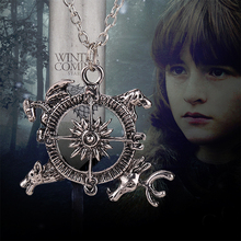 game of thrones necklace compass song of ice and fire vintage antique silver pendant for men and women wholesale(China (Mainland))