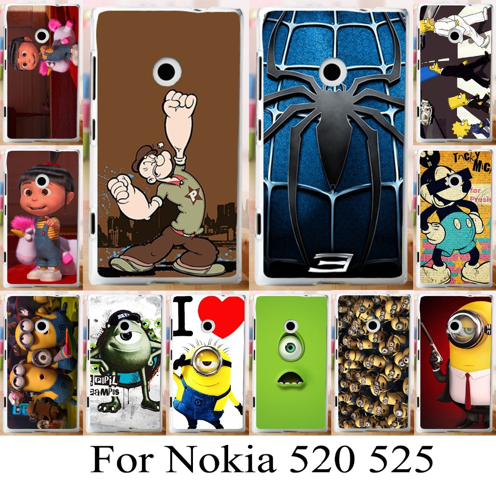 For Nokia Lumia 520 525 cute lovely cartoon pattern hard skin shell cover case painting phone case new cool mobilephone bag(China (Mainland))