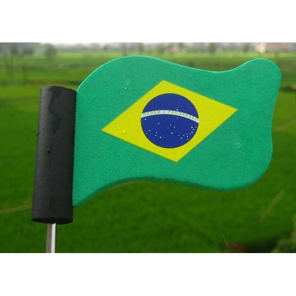 Green Brazil Flag Adorable Cute Cartoon Antenna Balls EVA Foam Aerial Toppers Decoration Car Styling Roof Ornament(China (Mainland))