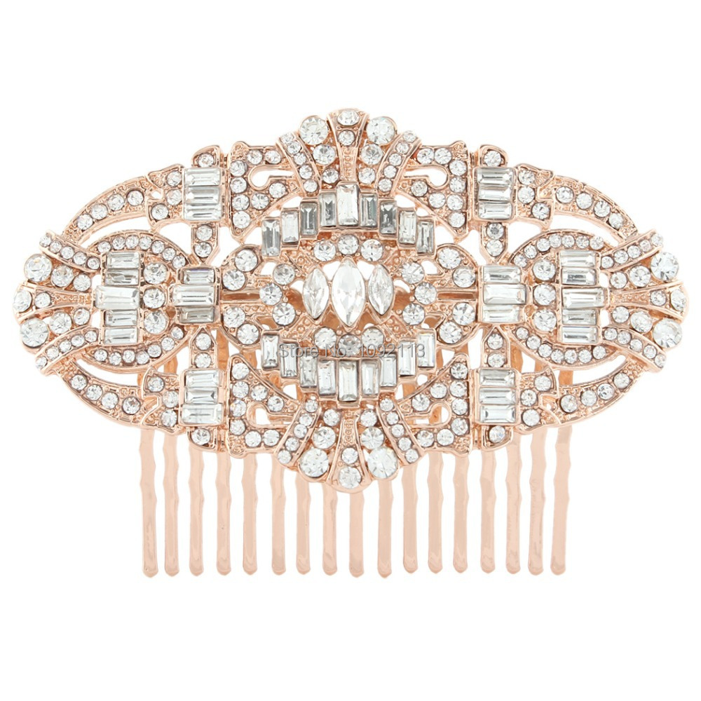 BELLA The Great Gatsby Bridal Hair Comb Rose Gold Wedding Accessories Head Piece Austrian Crystal For Bridesmaid Party Wearing(China (Mainland))