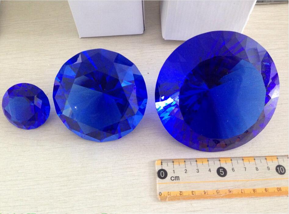 100mm Blue Big Crystal Diamond Paperweight Wedding Gift Souvenir Christmas Decoration Home Decor - cherry crystal store