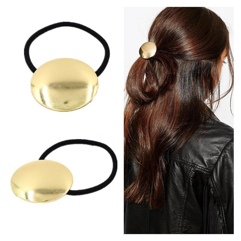 Fashion Women Jewelry Gold Fascinator Sheetmetal Hair Accessories Silicone Rubber Bands for Hair PY048(China (Mainland))