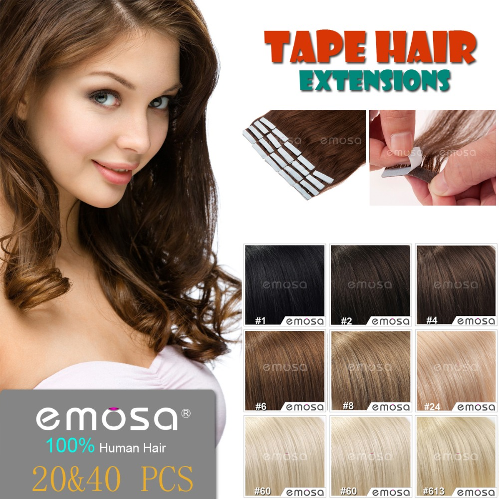 Emosa Tape Hair Extensions Natural Human Hair Extensions Silky Brazilian Virgin Hair Remy Tape Skin Weft 8 Colors(China (Mainland))