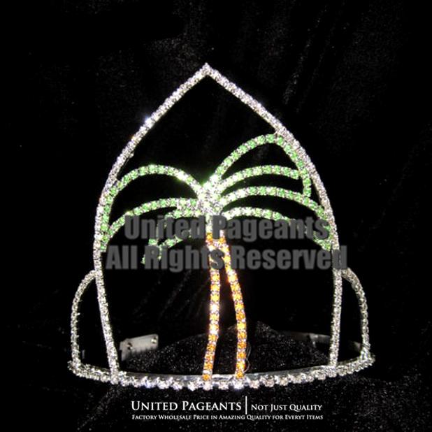 2015 Palm Tree Crowns Summer Beach Pageant Crown Tiara UC416(China (Mainland))