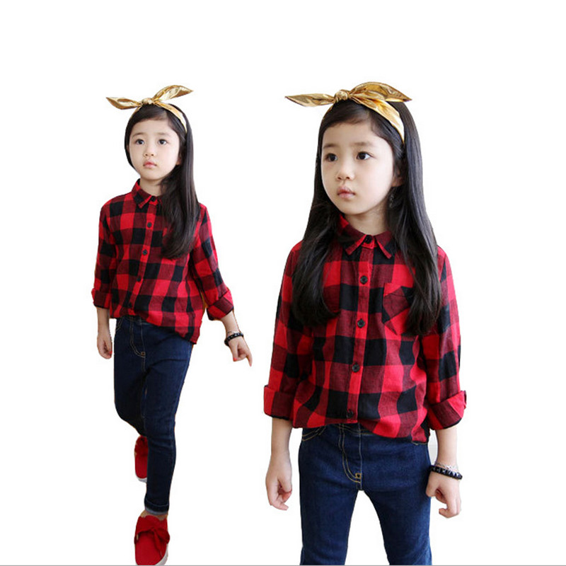 2016 Spring Autumn Casual Kids Blouse Shirts Children Girls Boys Long Sleeved Classic Red Plaid Shirts Baby Girl Cotton Clothes(China (Mainland))